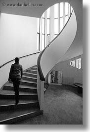 asia, black and white, hanoi, museums, spiral, stairs, vertical, vietnam, walking, womens, photograph