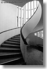 asia, black and white, hanoi, museums, spiral, stairs, vertical, vietnam, photograph