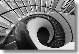 asia, black and white, hanoi, horizontal, museums, spiral, stairs, vietnam, photograph