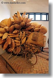 asia, baskets, bicycles, hanoi, museums, vertical, vietnam, wicker, woods, photograph