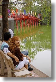 asia, benches, bridge, couples, hanoi, people, red, vertical, vietnam, photograph