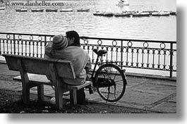 asia, benches, bicycles, black and white, couples, hanoi, horizontal, people, vietnam, photograph