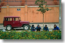 asia, blues, gardeners, hanoi, horizontal, jeep, people, vietnam, womens, photograph