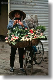 asia, flowers, hanoi, people, vendors, vertical, vietnam, womens, photograph