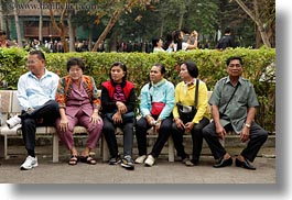 asia, benches, hanoi, horizontal, old, people, vietnam, womens, photograph
