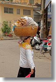 asia, baskets, carrying, hanoi, heads, people, vertical, vietnam, wicker, womens, photograph