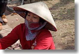 asia, conical, hanoi, hats, horizontal, people, red, vietnam, womens, photograph
