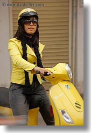 asia, hanoi, motorcycles, people, vertical, vietnam, womens, yellow, photograph
