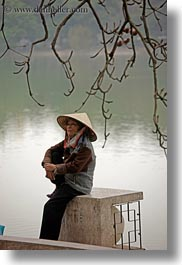 asia, branches, hanoi, people, sitting, vertical, vietnam, water, womens, photograph
