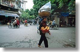 asia, baskets, bread, hanoi, horizontal, people, vietnam, walking, womens, photograph