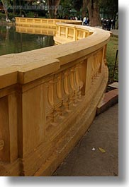 asia, curved, hanoi, pond, presidential palace, railing, vertical, vietnam, photograph