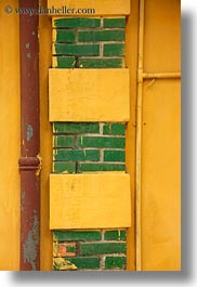 asia, bricks, green, hanoi, pipes, presidential palace, vertical, vietnam, yellow, photograph