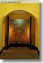 archways, asia, hanoi, paintings, prison, vertical, vietnam, photograph