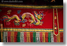 asia, dragons, fabrics, hanoi, horizontal, puppet theater, vietnam, photograph