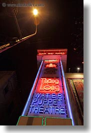 asia, hanoi, neon, puppet theater, puppets, signs, theater, vertical, vietnam, water, photograph