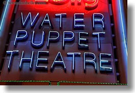 asia, hanoi, horizontal, neon, puppet theater, puppets, signs, theater, vietnam, water, photograph