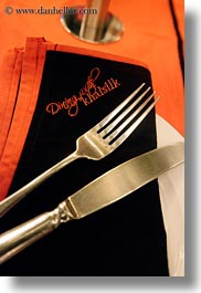 asia, fork, hanoi, knife, napkin, restaurants, vertical, vietnam, photograph