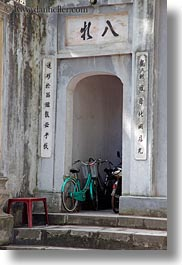 arches, asia, bicycles, hanoi, temples, vertical, vietnam, photograph