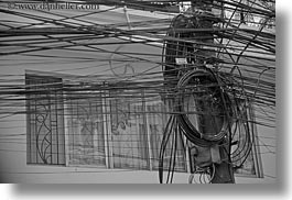 asia, black and white, buildings, hanoi, horizontal, tangled, telephones, vietnam, wires, photograph