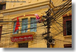 asia, balloons, colorful, hanoi, horizontal, tangled, telephones, vietnam, wires, photograph