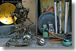 artistic, arts, asia, hoi an, horizontal, metal, motorcycles, sculptures, vietnam, photograph