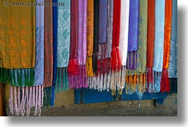 arts, asia, colorful, hoi an, horizontal, scarves, silk, vietnam, photograph