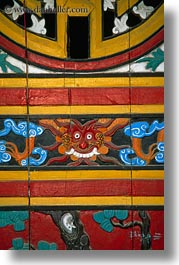arts, asia, colorful, hoi an, paintings, vertical, vietnam, woodwork, photograph