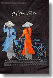 arts, asia, bicycles, embroidered, hoi an, vertical, vietnam, womens, photograph
