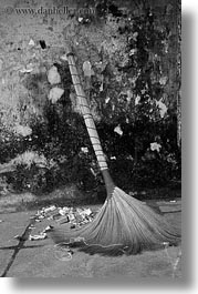 arts, asia, black and white, brooms, hoi an, leaning, vertical, vietnam, photograph