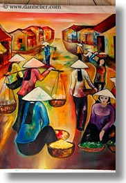 arts, asia, conical, don ganh, hats, hoi an, paintings, vertical, vietnam, womens, photograph