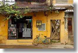 asia, bicycles, bikes, hoi an, horizontal, vietnam, walls, yellow, photograph