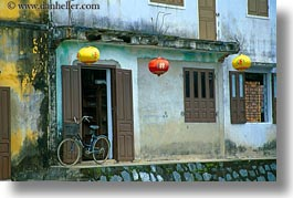 asia, bicycles, bikes, hoi an, horizontal, lanterns, paper, vietnam, photograph