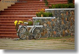 asia, bicycles, bikes, hoi an, horizontal, stones, vietnam, walls, photograph