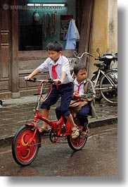 asia, bicycles, bikes, boys, hoi an, red, toddlers, vertical, vietnam, photograph