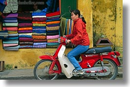asia, bikes, girls, hoi an, horizontal, moped, red, vietnam, photograph