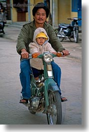 asia, bikes, hoi an, men, moped, toddlers, vertical, vietnam, photograph
