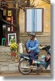 asia, bikes, hoi an, men, motorcycles, sitting, vertical, vietnam, photograph