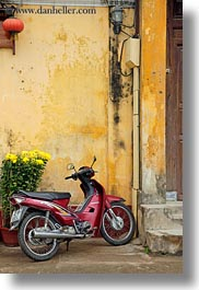 asia, bikes, hoi an, moped, vertical, vietnam, walls, yellow, photograph