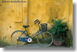 asia, bicycles, bikes, hoi an, horizontal, old, vietnam, walls, yellow, photograph
