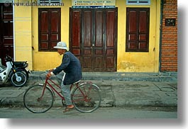 asia, bicycles, bikes, helmets, hoi an, horizontal, men, old, red, vietnam, white, photograph