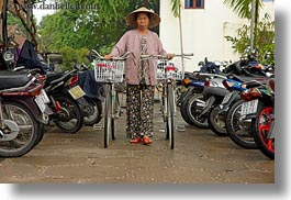 asia, bikes, hoi an, horizontal, old, vietnam, walking, womens, photograph