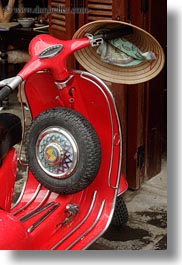 asia, bikes, hats, hoi an, moped, red, vertical, vietnam, wheels, photograph