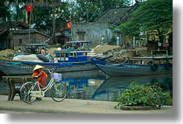 asia, bikes, conical, hats, hoi an, horizontal, vietnam, womens, photograph