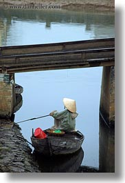 asia, boats, bridge, fishermen, hoi an, under, vertical, vietnam, photograph
