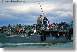asia, boats, hoi an, horizontal, men, motorcycles, vietnam, photograph