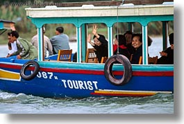 asia, boats, from, hoi an, horizontal, tourists, vietnam, waving, womens, photograph