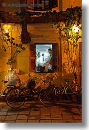 asia, buildings, cooks, hoi an, inside, nite, restaurants, slow exposure, vertical, vietnam, photograph