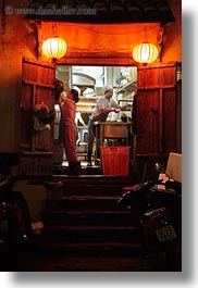 asia, buildings, cooks, hoi an, inside, nite, restaurants, vertical, vietnam, photograph