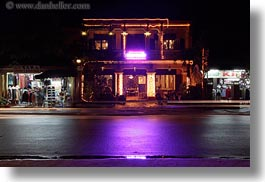 asia, buildings, glowing, hoi an, horizontal, lights, long exposure, neon, purple, vietnam, photograph