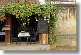 asia, buildings, cafes, covered, hoi an, horizontal, ivy, setting, tables, vietnam, photograph